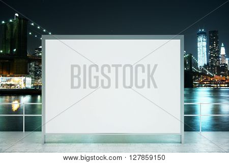 Observation ground with blank banner on illuminated night city background. Mock up 3D Rendering