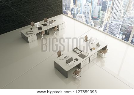 Topview of light grey office interior with glossy floor city view and sunlight. 3D Rendering