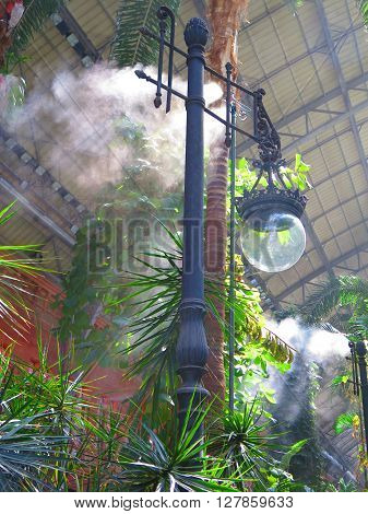 Madrid, Spain April 7 2016: Tropical green house location in Atocha train station/ Madrid, Spain April 7 2016