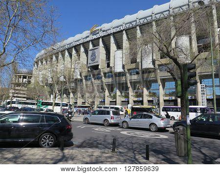 Madrid Spain April 7 2016: Estadio Santiago Bernabeu soccer stadium of the Spanish football club Real Madrid Madrid Spain Europe. Madrid Spain April 7 2016