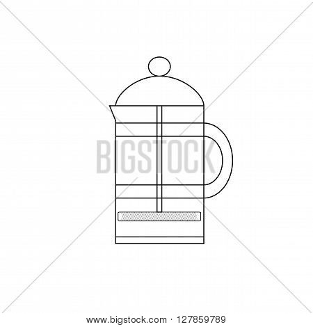 French press to brew coffee or tea. Icon french press in the style of the line.