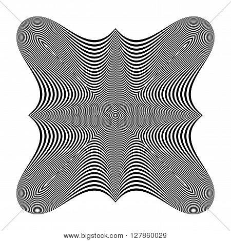Design monochrome illusion background. Abstract stripe backdrop. Vector-art illustration