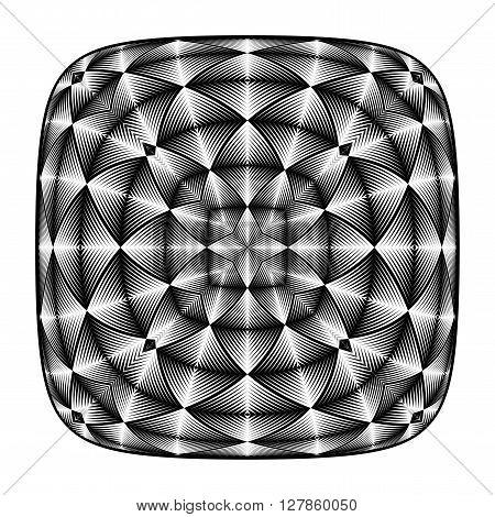 Design illusion backdrop. Abstract geometric monochrome background. Vector art. No gradient