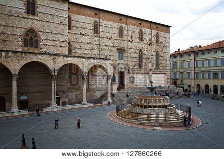 PERUGIA ITALY - SEPT.27 2015: View of Piazza IV Novembre Perugia Umbria Italy