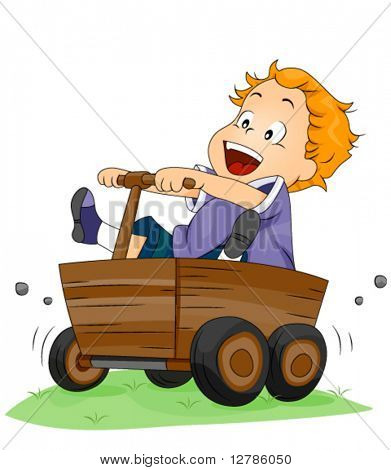 Boy on Wooden Kart - Vector