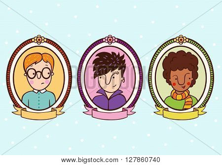 Portraits of children in the frame. Pupils, students, boys. Set of 3 cute cartoon teenagers.