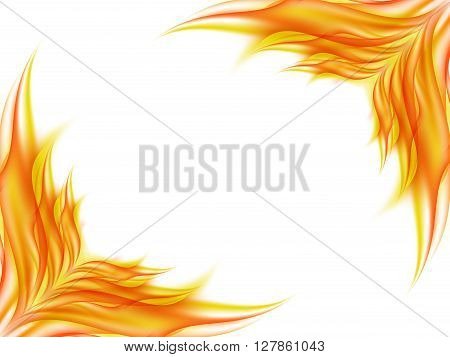 Background with abstract flower in red and yellow colors in opposite corners of a picture on white, the clearance angle of the picture in lines of red and yellow tones, vector illustration
