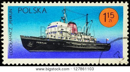 MOSCOW RUSSIA - APRIL 25 2016: A stamp printed in Poland shows icebreaker
