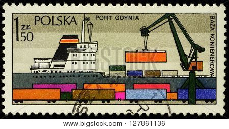 MOSCOW RUSSIA - APRIL 25 2016: A stamp printed in Poland shows ship in Polish Harbour Gdynia series