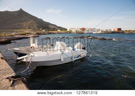 The harbour of the fishing village of Punta Longa on the island of Favignana in Sicily near Trapani Italy