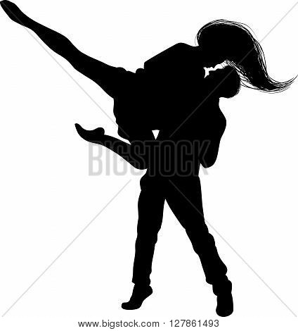 black silhouette of a dancing together a guy and a girl on a white background