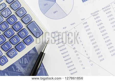 There are retirement projections according to return and annual inflation with pen and calculator