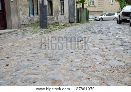 Street in old part of town paved with stone