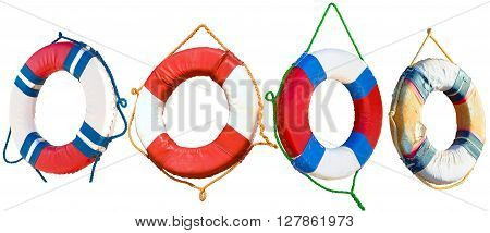 Lifebuoy ring isolated on a white background, with clipping path