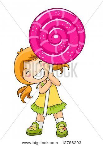 Girl with Lollipop - Vector