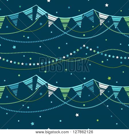 Party pennant bunting. Party seamless background. Vector seamless illustration.