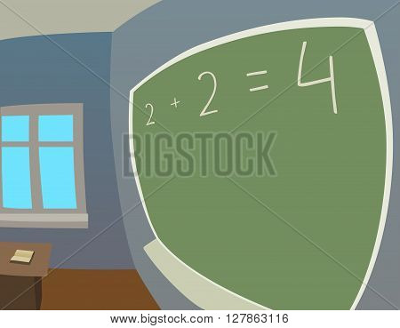 This is an illustration of classroom in fisheye