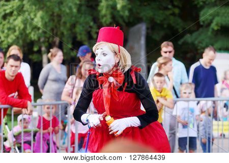 PERM RUSSIA - JUNE 5 2015: Clown woman performs at Perm Kaleidoscope Festival