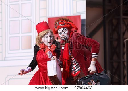 PERM RUSSIA - JUNE 5 2015: Two clowns perform on open air stage at Perm Kaleidoscope Festival