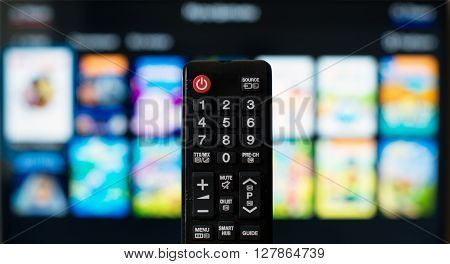 Tv Remote Control Against Smarttv Operating System.