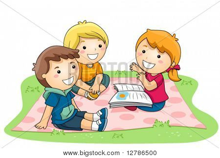 Child telling stories in the Park - Vector