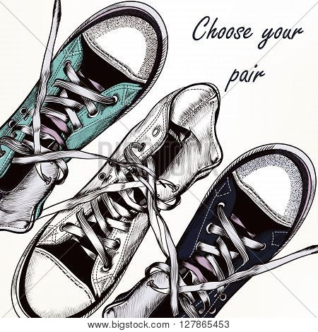 Fashion vector background with blue hipster sneakers sport boots in realistic engraved style for design