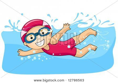 Boy swimming - Vector