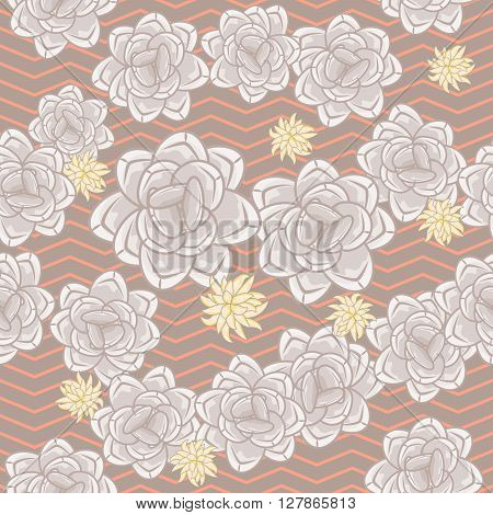 Coffee beige echeveria roses and chevron seamless pattern. Feminine pink rose colors on zigzag background.