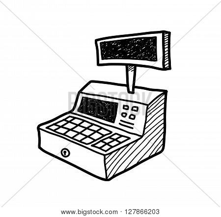Cash Register Doodle, a hand drawn vector doodle illustration of a cash register.