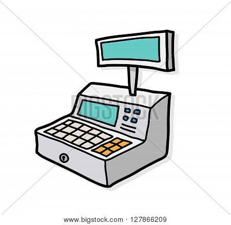 Cash Register, a hand drawn vector illustration of a cash register with shadow backdrop (separate group).