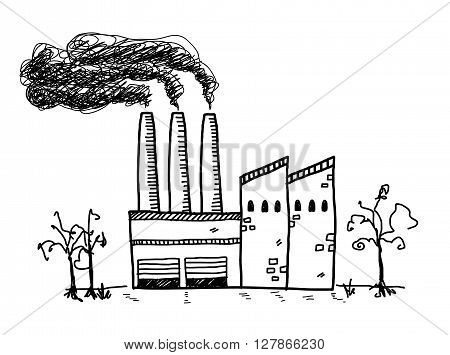 Factory Pollution Doodle, a hand drawn vector doodle illustration of a factory building with black smoke coming out of its chimneys.
