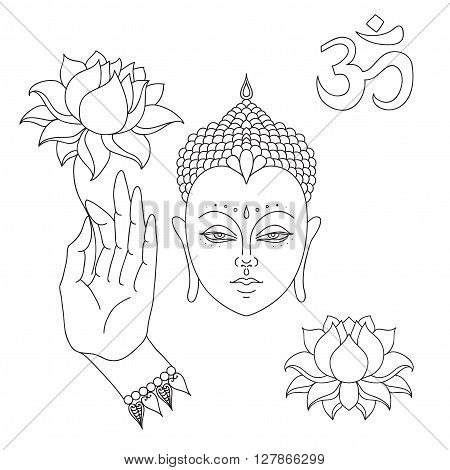 Head of Buddha. Om sign. Hand drawn Buddha hand with lotus flower. Isolated icons of Mudra. Beautiful detailed, serene. Vintage decorative elements. Indian, Hindu motifs.