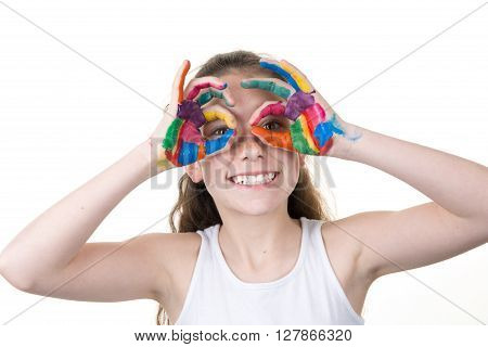 Smiling Girl With Painted Hands Forming Glasses In Front  Eyes