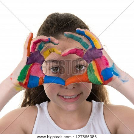 Happy Young Girl Hands Forming A Heart Symbol,  Love