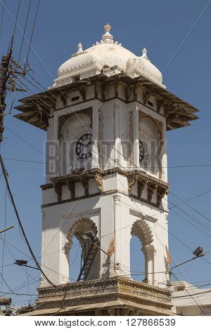 Ghanta Ghar Clock Tower in central Udaipur during the day.