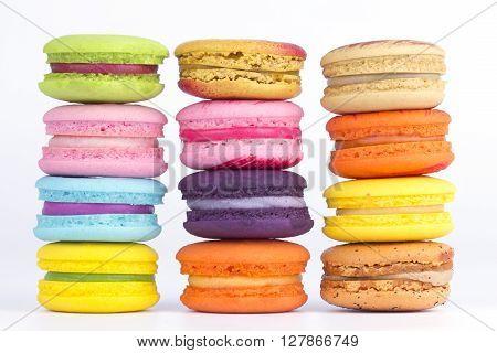 multicolor macaron on white background ,food background