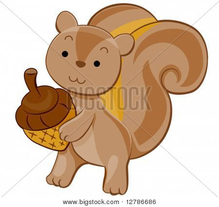 Cute Squirrel - Vector