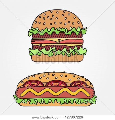 Vector thin line icon  hot dog and burger. For web design and application interface, also useful for infographics. Vector dark grey. Vector illustration.