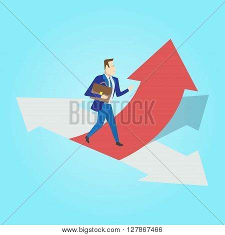 Businessman standing on three ways arrows for selection. Business way select concept. Vector illustration.