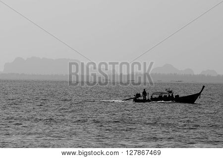 Boat on the sea in bw shot. At phangnga the southern of thailand.