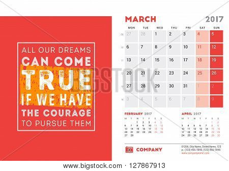Desk Calendar Template For 2017 Year. March. Design Template With Motivational Quote. 3 Months On Pa