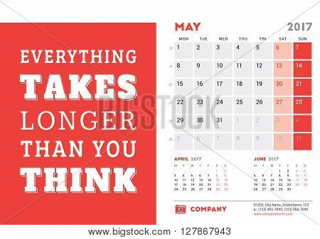 Desk Calendar Template For 2017 Year. May. Design Template With Motivational Quote. 3 Months On Page