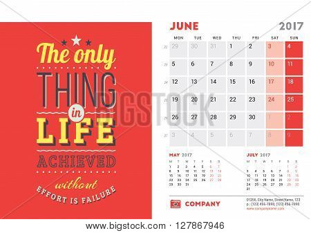 Desk Calendar Template For 2017 Year. June. Design Template With Motivational Quote. 3 Months On Pag