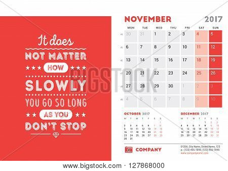 Desk Calendar Template For 2017 Year. November. Design Template With Motivational Quote. 3 Months On