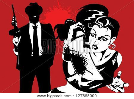 man and woman in black suits with a weapon vector illustration