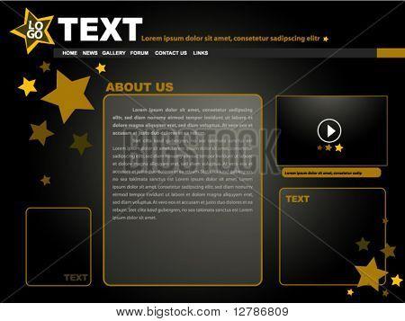 Gold Stars Website Template Design - Vector