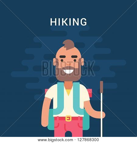 Hiking Concept. Smiling Bearded Young Man with Backpack and Stick for Hiking