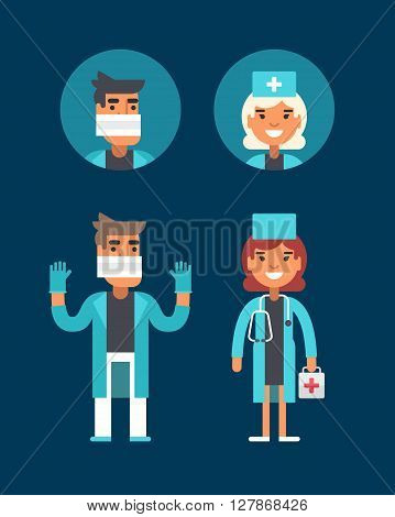 Medicine Concept. Doctor Surgeon Emergency Physician. Male and Female Cartoon Characters Avatar. Flat Style Vector Illustrations for Web Banners or Promotional Materials