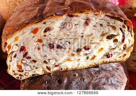 Market stalls with fresh homemade bread with fruits and nuts. Spring Fair on the Square