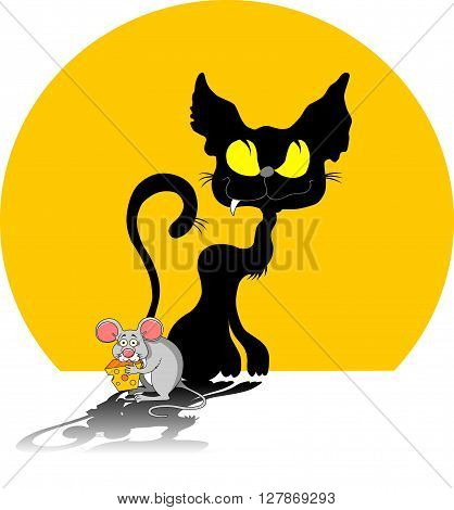 Funky gray mouse with a big piece of cheese and cat